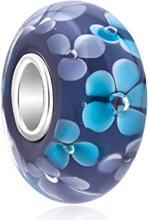QueenCharms 925 Sterling Silver Blue/Purple Murano Glass Charm with Flowers for Bracelet