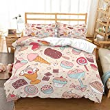 PATATINO MIO Christmas Icecream Duvet Cover Set Full 3D Icecream Chocolate Doughnuts Candy Blush Pink Bedding Set 3 Piece(1 Duvet Cover 2 Pillow Sham) for Girls Kids Toddlers