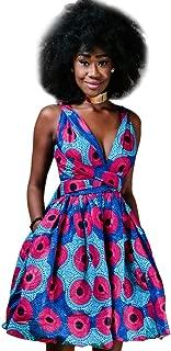 Robe Courte Convertible Africaine Imprim Wax Dashiki Ankara African Femme Plisse