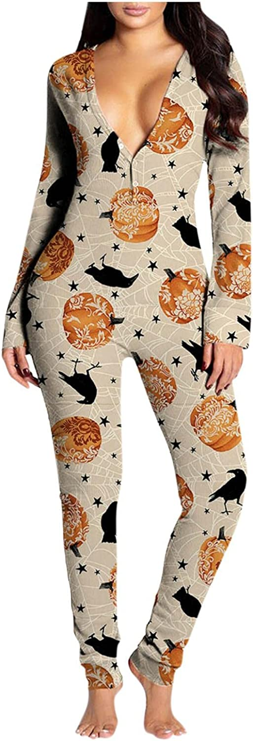 UOCUFY Sleepwear for Women Casual Button Down Halloween Printed Functional Back Buttoned Flap Adults Jumpsuit Pajamas Sets