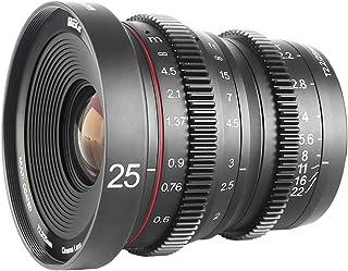 Meike 25mm T2.2 Large Aperture Wide Angle Manual Focus Prime Mini Cinema Lens for Micro Four Thirds M43 MFT Olympus Panasonic Lumix Cameras and BMPCC 4K Zcam E2