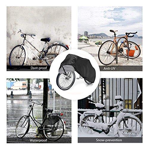 Fahrradabdeckung Wasserdicht. EMIUP Fahrradschutzhülle Fahrradträger für 2 Fahrräder Wasserfest Atmungsaktiv Regenschutz Schutzbezug 200x70x110CM – Schwarz - 5