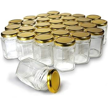 Cloudsell Hexagon Glass Jar with Air Tight Gold Metal Cap, 200 ml, Set of 12