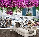 Papel tapiz fotográfico 3D Stereo Window Roses Flowers Murals Restaurant Cafe Living Room Fondo de...