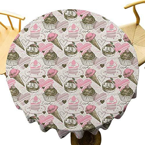 VICWOWONE Mantel de helado – Mantel redondo impreso de 50 pulgadas con diseño de corazón turbio con ilustración de amor y romance, sensación cálida, polvo, rosa pálido y verde militar