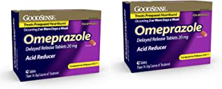Omeprazole Delayed Release Tablets 20 mg, Acid Reducer, Treats Heartburn, 42 Count - 2 Pack