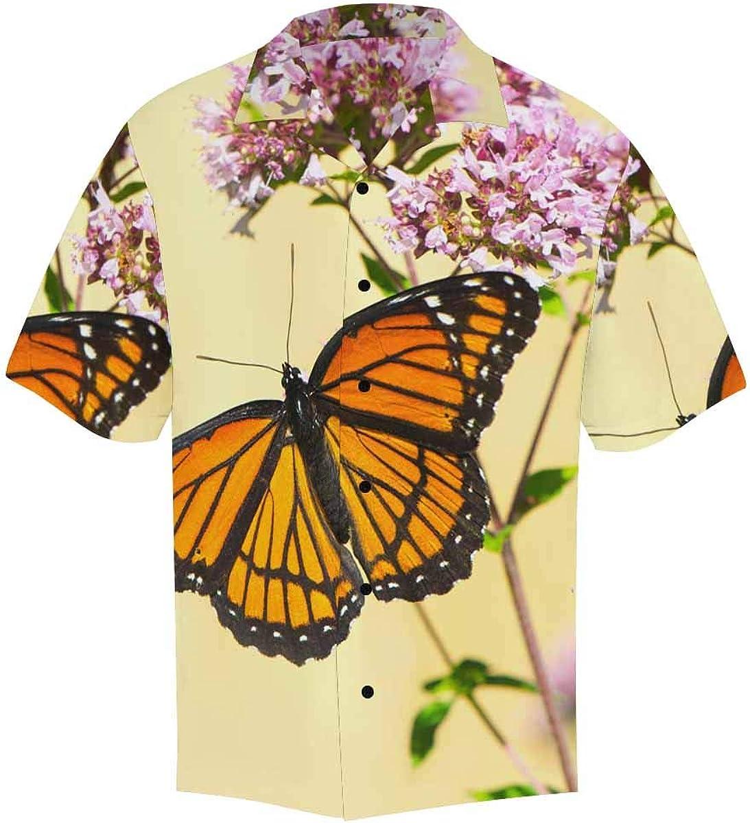 InterestPrint Men's Casual Button Down Short Sleeve Hawaiian Shirt Navy Butterfly (S-5XL)