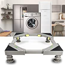 Adjustable Movable Base Refrigerator Fridge Stand with 4 Strong Feet Yellow Multi-Functional Furniture Dolly Roller Base for Refrigerator Washing Machine Washer Dryer