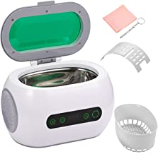 Dessports Ultrasonic Jewelry Cleaner Compact Professional Diamond Ring Cleaner Machine 600ml Denture Cleaning Machine with 12 Cycles Digital Timer Degass Feature for Eyeglass Watch Coin for Household