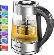 Glas Wasserkocher,CHULUX 1.7L Wasserkocher Glas Edelstahl Elektrischer Wasserkessel,Teekocher,BPA FREI, Warmhaltefunktion, LED Beleuchtung im Farbwechsel,Temperatureinstellung 40°C-100°C, 2200 Watt