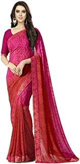 Rajeshwar Fashion With Rf Women's Georgette Printed Saree Lace Work With Blouse Piece (A15 Pink_Multicolored_Free Size)