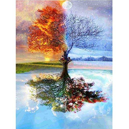 5D Bild, Diamant-Verzierung, zum Selbermachen, Kreuzstich, aus Kunstharz, Dekoration von Haus, Wohnzimmer - Schöner Baum - 30*40 cm