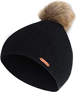 Unisex Caps Sale Clearance Casual Soft Stretch Stripe Knitted Autumn and Winter Trendy Warm Big Hair Ball Hat