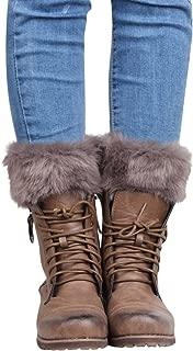Womens Crochet Knitted Leg Warmers Faux Fur Trim Cuffs Topper Boots Socks
