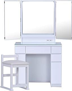 ISSEIKI ドレッサー 3面鏡 80 ボックス アベリア【完成品】ABELIA DRESSER 3 MENKYO 80 (BOX) (MF-WH) シンプル 収納 チェア有り