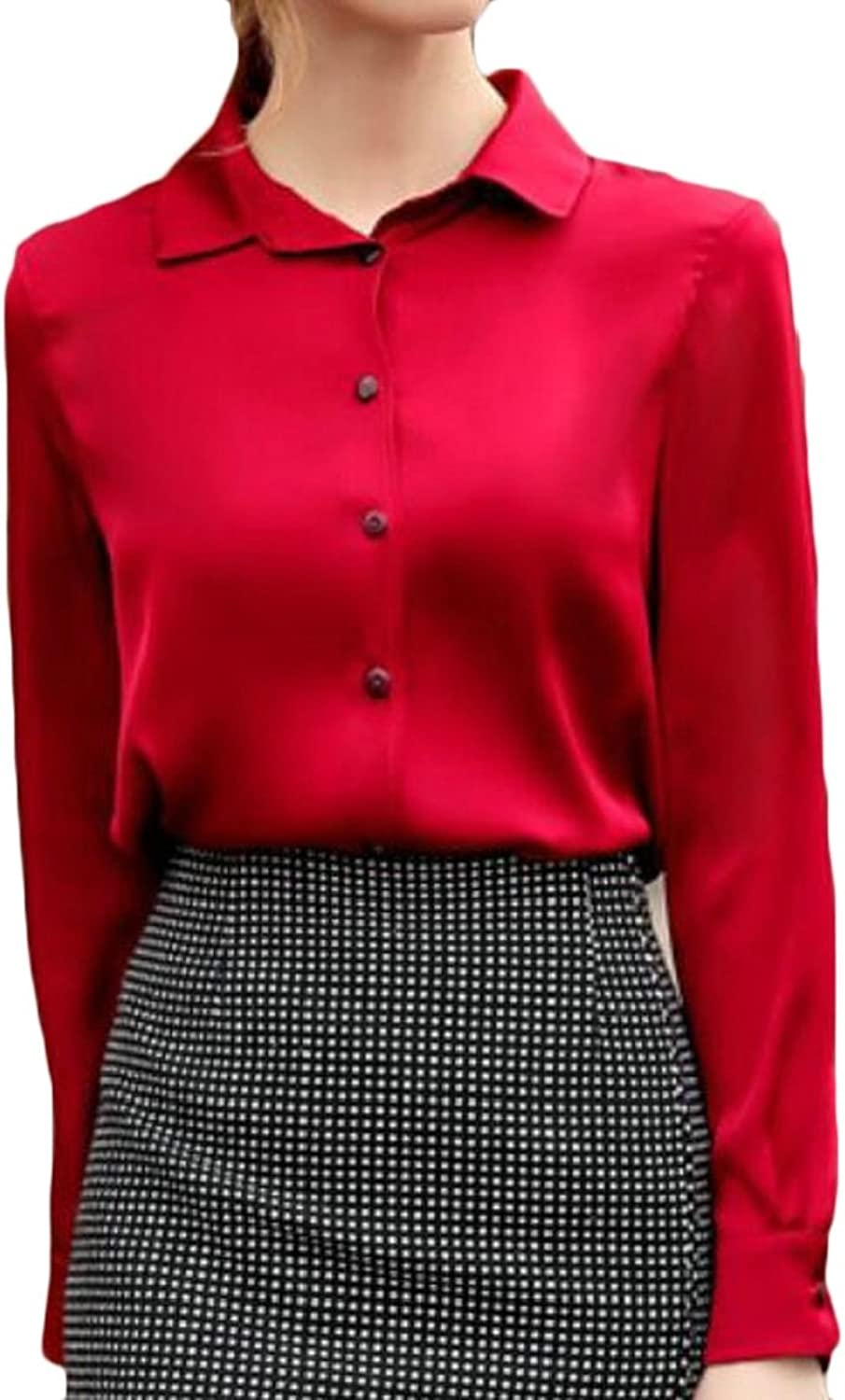 Generic Womens Fashion Long Sleeve Satin Blouse Button Down Shirts with Cuffs