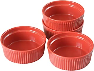 Cinf Porcelain Ramekin Red 10 oz. Pudding Bowls Dishes Cup for Baking- Set of 4,Souffle Cups Dishes, Creme Brulee, Custard...