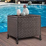 Valita Careland Outdoor PE Wicker Side Table with Storage Patio Resin Rattan End Table Square Container for Furniture Covers, Toys and Gardening Tools Brown