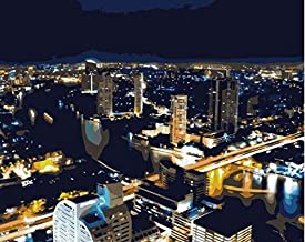 FSKJSZYH Frameless DIY Thailand Bangkok Skyscrapers Lights Oil Painting by Numbers for Home Decor 40X50Cm