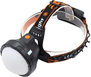Genwiss Led Rechargeable Bright Headlamp, XML-T6 3000lm 90 Degree Rotation Plastic Lampshade Make Light More Soft Headlamp Include 2 x Batteries, Charger, Car Charger for Camping Biking Hunting
