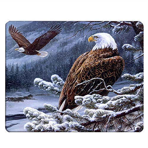 NICOKEE Eagle Rectangle Gaming Mousepad Bald Eagle Stand Snow Branch Mouse Pad Mouse Mat for Computer Desk Laptop Office 9.5 X 7.9 Inch Non-Slip Rubber