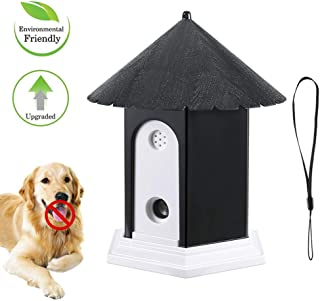 Ultrasonic Dog Bark Control Outdoor Dog Anti Bark Preventive Stop Barking Device Cute Bird House Box Design Waterproof for Home Garden Hanging Battery Operated