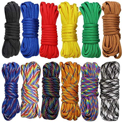 aufodara 12er Paracord Set Seile Bunt Schnüre Fallschirm-Schnur DIY Handgemachte Webart für Armband Schlüsselanhän (12 Farben, 10 Feet)