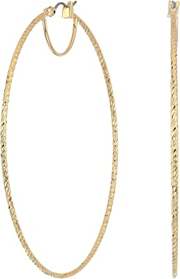GUESS Large Textured Snap Close Wire Hoop Earrings