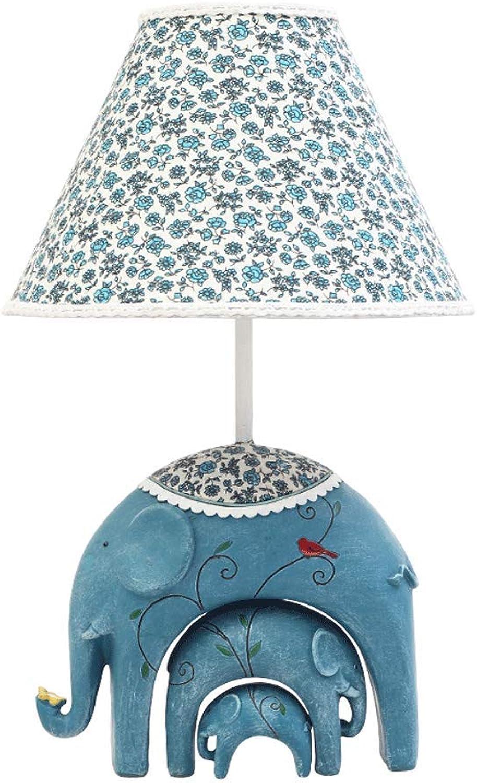 Cartoon Tischlampe - Elephant Kinderzimmer Nachttischlampen Creative Schlafzimmer Warm Prinzessin Tischlampe, Dimmbare Augenschutz Nachtlicht (Farbe   Blau)