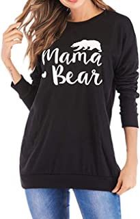 145b423f571d7 Women Casual Long Sleeve Shirts Print Loose Crew Neck Mama Bear Pullover  Sweatshirt Tops Blouse with