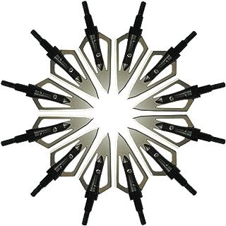zzuus 3pcs/6pcs/12pcs Steel Flat Broadheads with 2 Blades 100 Grain Hunting Arrow Tips Screw Thread 0.9