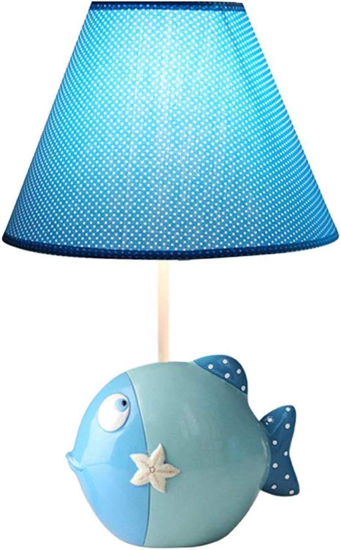 Gemalte Prinzessin Lamp Fish Sea Ornamente Licht Lampe Kind Schlafzimmer Tisch Schreibtisch Kindergarten bunte Cartoon Lampen Dekoration Mdchen Geschenke (Farbe   Blau-S)