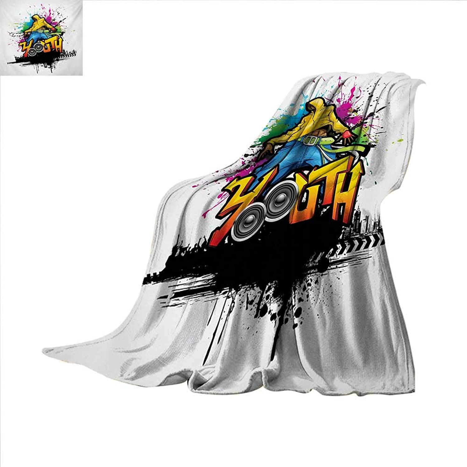 Youth Throw Blanket Young Man Hip Hop Culture Graffiti Art and Street Culture Performer colorful Grunge Velvet Plush Throw Blanket 60 x 60 inch Multicolor