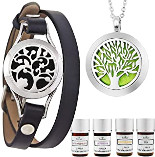 Essential Oil Bracelet and Necklace, Stainless Steel Aromatherapy Pendant Locket Bracelets Leather Band with 48 Pads in 4 Scents, Girls Women Jewelry Gift Set