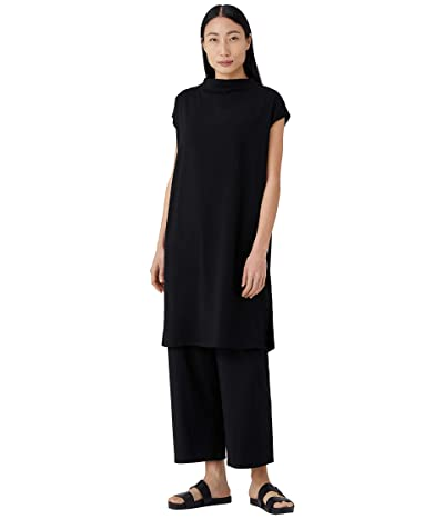 Eileen Fisher Funnel Neck Knee Length Dress in Organic Cotton Stretch Jersey