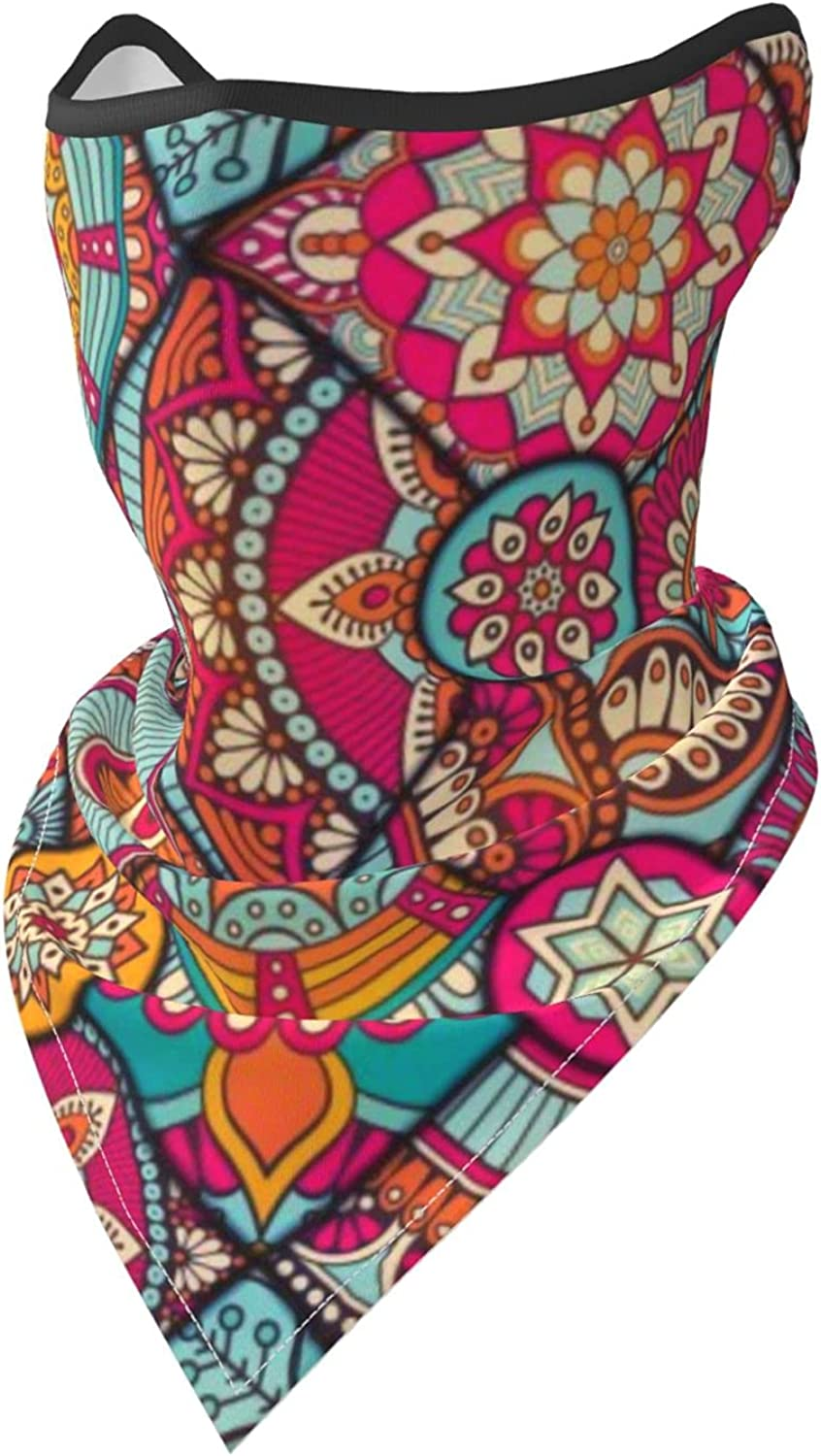 Ethnic Floral Bohemian Pattern Breathable Bandana Face Mask Neck Gaiter Windproof Sports Mask Scarf Headwear for Men Women Outdoor Hiking Cycling Running Motorcycling