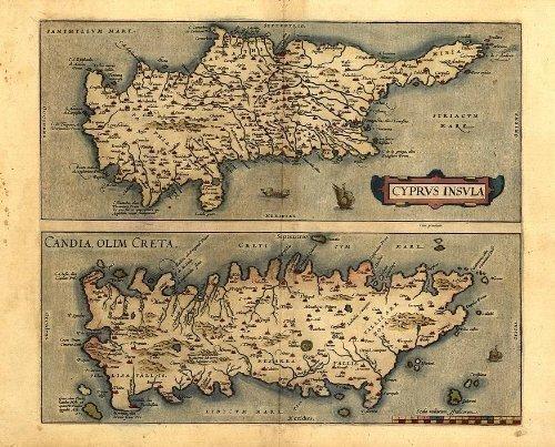 Preisvergleich Produktbild Antike Karte der Mittelmeer-Inseln Zypern und Kreta,  Reproduktion,  von Abraham Ortelius,  A1,  78 x 57 cm