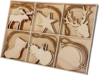 Joy&Leo 3-4 Inch Christmas Ornaments Unfinished Wood Cutouts (6 Patterns, 30 Units), Christmas Stockings & Reindeer & Star & Snowman & Balls & Reindeer Head for Crafts and Christmas Tree Decoration