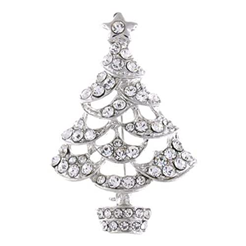 c8f3e667d5c Brooches Store Silver and Clear Swarovski Crystal Christmas Tree Brooch