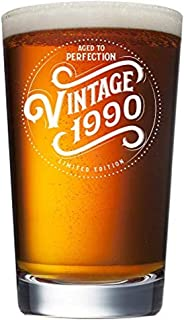 1990 29th Birthday Gifts for Women and Men Beer Glass - Funny 29 Year Old Vintage Anniversary Gift Ideas for Him, Her, Dad, Mom, Husband or Wife. 16 oz Pint Bar Glasses. Party Decorations IPA Mug Cup
