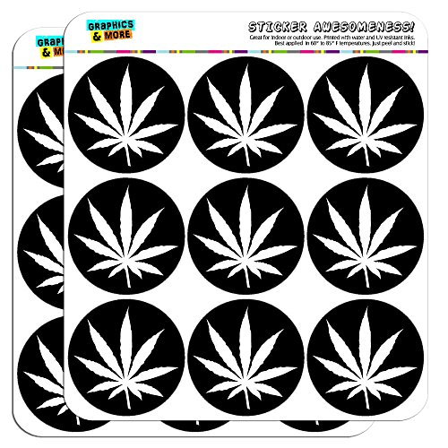 "Marijuana Leaf Black 2"" Planner Calendar Scrapbooking Crafting Stickers - Opaque"