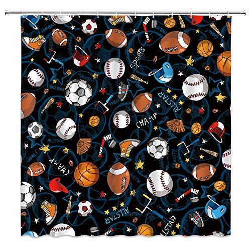 WZFashion Sport-Duschvorhang für Jungen Kinder Teenager Basketball Baseball Fußball Hockey Stern Muster blau Stoff Badezimmer Vorhang Set 70x177,8 cm mit Haken