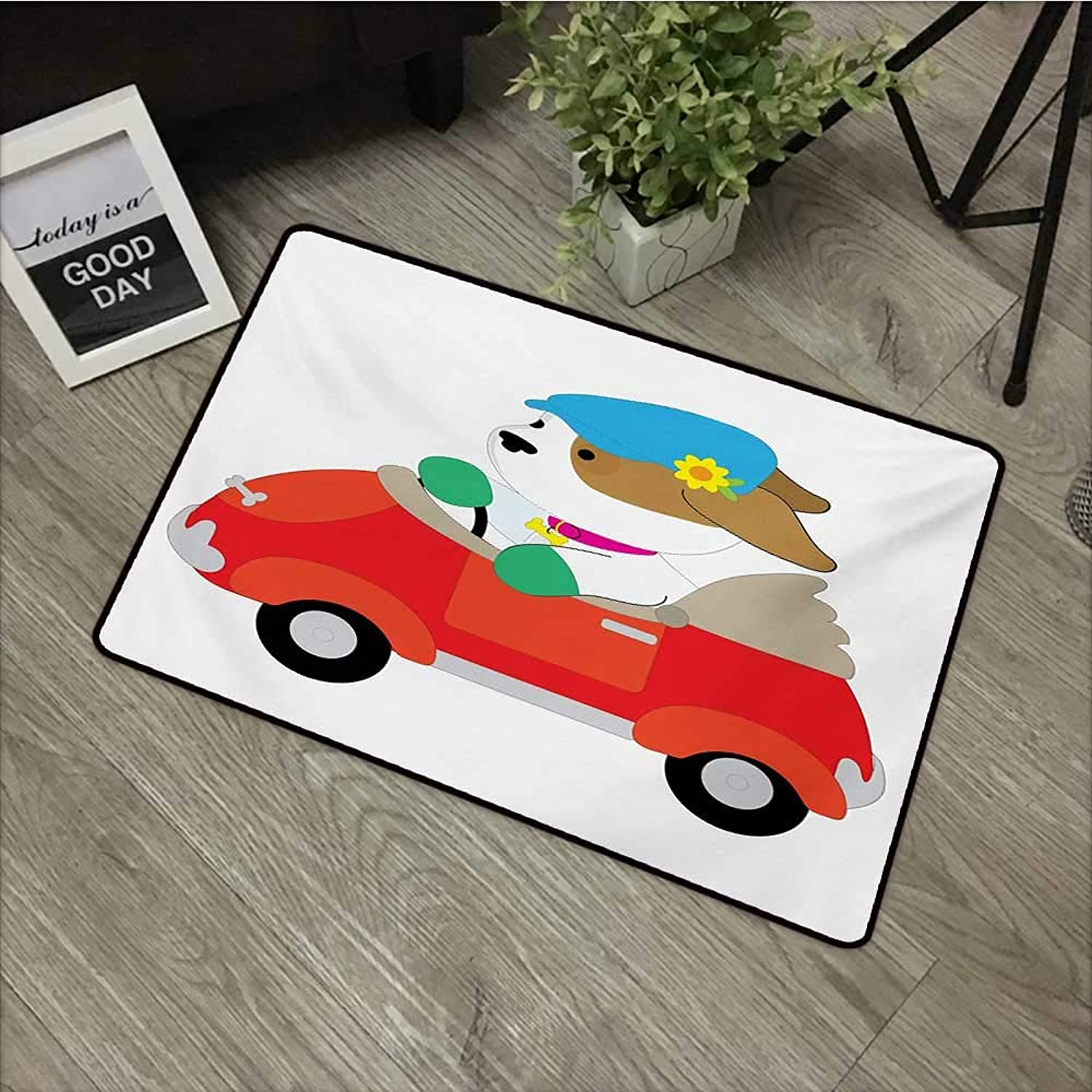 Pad W35 x L59 INCH Dog Driver,Puppy Wearing A Driving Cap with Flower in Car Companion Humor Joke Cartoon,Multicolor Non-Slip, with Non-Slip Backing,Non-Slip Door Mat Carpet