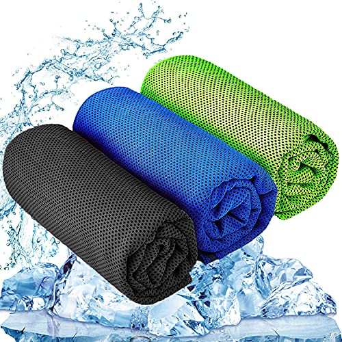 YQXCC 3 Pcs Cooling Towel (47'x12') Cool Cold Towel for Neck, Microfiber Ice Towel, Soft Breathable Chilly Towel for Yoga, Golf, Gym, Camping, Running, Workout & More Activities