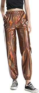 Womens Shiny Metallic High Waist Stretchy Jogger Pants, Wet Look Hip Hop Club Wear Holographic Trousers Sweatpant