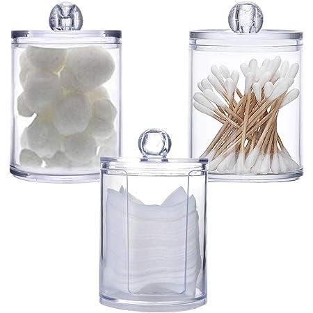 Lot de 3 supports de maquillage en acrylique transparent pour boules de coton, coton-tige et coton-tige pour salle de bain, pot de rangement de maquillage, rangement pour boules de coton