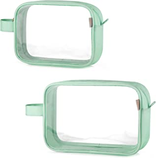 GAGAKU TSA Approved Clear Toiletry Bag Transparent Makeup Bags Set Waterproof Wash Bag 2pcs - Green