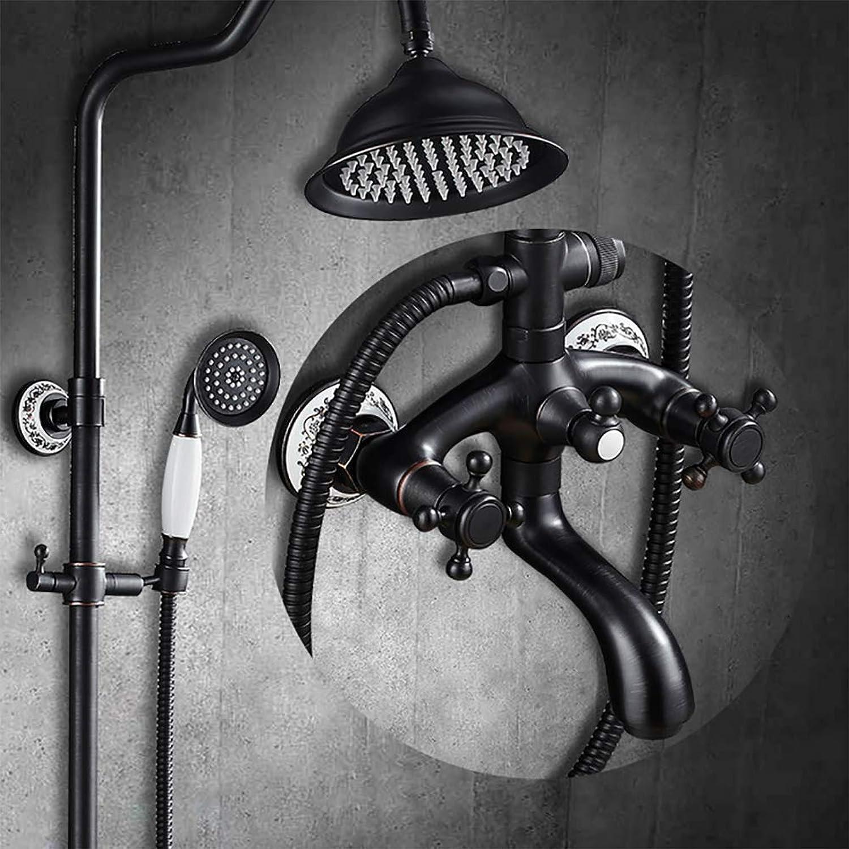 LYWIR Bad Regendusche Mischbatterie Doppelgriff Badewanne Duschset Schwarz Messing Duschkopf Duscharmatur System