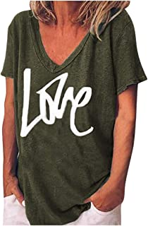 Women Shirts V Neck Love Print Blouse Top Loose Plus Size Pullover Short Sleeves T-Shirt Tops