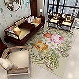 RUGMRZ Alfombras Infantiles Alfombra de salón Antideslizante con Estampado Floral de Hojas Verdes de Varios tamaños Alfombra Despacho Alfombra Exterior Terraza Verde 160X230CM